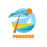 Paradise - vector logo in flat style. Travel vacation creative concept illustration for poster. Sea, island, sun, palm, beach. Stock Photography