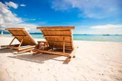 Paradise view of nice tropical empty sandy plage Stock Images