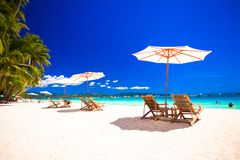 Paradise view of nice tropical empty sandy plage Royalty Free Stock Photography