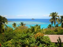 Paradise View. Scenic view of a paradise island in the Pacific stock images