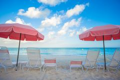 Paradise view of tropical empty sandy plage with Royalty Free Stock Photo
