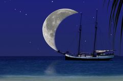 Paradise Voyage With Moon Sail. Stock Images