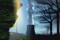 Paradise vs apokalyps-, miljöändring och miljö- begrepp för global uppvärmning som en plats som itu klipps med halva royaltyfri foto