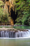 Paradise Waterfall with cave, located in Thanbok Khoranee National park of Thailand, Long exposure shot Royalty Free Stock Photos