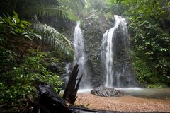 Paradise waterfalls in deep tropical forest, Koh Lanta, Thailand Stock Photography