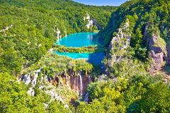 Paradise waterfalls of Plitvice lakes national park. Panoramic view, Croatia Royalty Free Stock Photography
