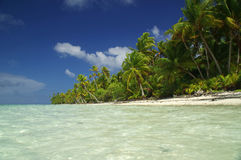 Paradise White sand beach in Tahiti Stock Images