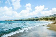 Paradise wild beach. Of Mediterranean Sea on Cyprus island Stock Images