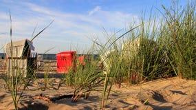 Paradiset för strandstol och solljussemestrar Usedom öTyskland arkivbild