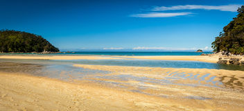 Paradisiac beach in Abel Tasman in New Zealand. Paradisiac beach in Abel Tasman National Park in the south island in New Zealand. Beautiful travel destination royalty free stock photo