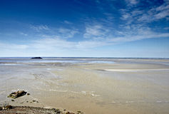 Paradisiac beach in france. Beach from mont sant michell in normandie Stock Photo