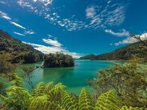Paradisiac plaża w Abel Tasman w Nowa Zelandia Fotografia Royalty Free