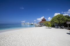 Paradisiacal landscape tropical beach. In the Maldives Stock Photo