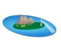 Paradiso degli alberi dell'acqua della montagna del faro dell'isola tropicale illustrazione di stock