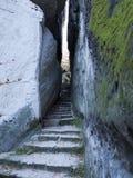 Paradiso della Boemia - scala delle rocce - percorso stretto Immagine Stock Libera da Diritti
