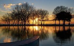 Paradiso di tramonto in Umag, Croazia immagine stock