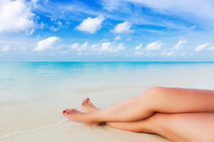 Paradiso di vacanza sulle rive del mare del turchese Fotografie Stock Libere da Diritti