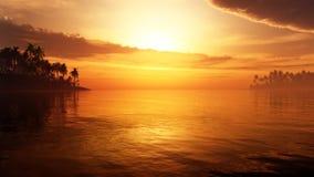 Paradiso tropicale di fantasia con le nuvole maestose Fotografie Stock Libere da Diritti