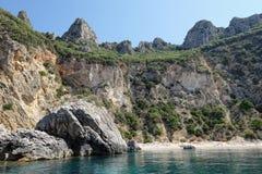 Paradisstrand av Liapades på den Korfu ön Grekland sedimentary fotografering för bildbyråer