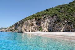 Paradisstrand av Liapades på den Korfu ön Grekland sedimentary arkivfoton