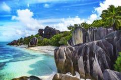 Paradisstrand på ` för ansekälla som D är argent på Seychellernaen 85 Arkivfoton