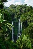 Paradisvattenfall, Bali Bakgrund för naturskönhetlandskap Arkivfoton