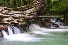 Paradisvattenfall med det stupade trädet som lokaliseras i den Thanbok Khoranee nationalparken av Thailand, långt exponeringsskot Arkivbilder