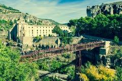 Parador nacional av Cuenca i Castille La Mancha, Spanien Arkivbilder