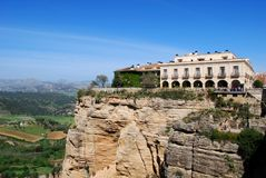 Parador overlooking the gorge, Ronda, Spain. Stock Photos