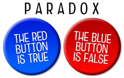 Paradox. Logical paradox by using 2 buttons Royalty Free Stock Photos