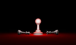 Paradox. Strength and weakness chess metaphor. 3D render illus. Horizontal chess composition. Available in high-resolution and several sizes to fit the needs of Stock Photo