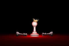 Paradox. Strength and weakness (chess metaphor). 3D render illus Royalty Free Stock Photo