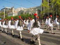 Parady odmienianie strażnik w Ateny obrazy royalty free