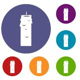 Paraffin candle icons set. In flat circle red, blue and green color for web Stock Photography