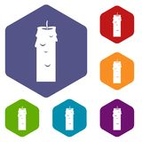 Paraffin candle icons set hexagon. Isolated vector illustration Stock Photography