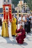 Parafianina Ortodoksalnego kościół Moskwa Ukraiński patriarchat podczas religijnego korowodu Kijów, Ukraina obrazy royalty free