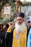 Parafianina Ortodoksalnego kościół Moskwa Ukraiński patriarchat podczas religijnego korowodu Kijów, Ukraina zdjęcia stock
