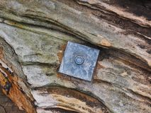 Parafuso da rocha que fixa Sydney Sandstone Wall, Austrália imagem de stock
