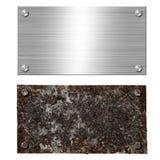 Parafuso de aço de alumínio escovado brilhante do quadro indicador do metal Parafusos oxidados da placa de aço Fundo da textura d ilustração royalty free