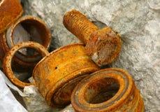 Parafuso e rolamentos oxidados imagens de stock royalty free