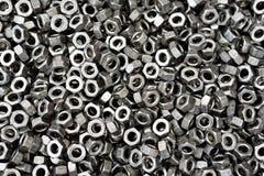 Parafuso, parafuso e porca em preto e branco para o fundo industrial Imagens de Stock
