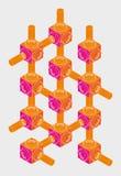 Parafuso-porca, projeção isométrica, projetando o gráfico Fotografia de Stock Royalty Free