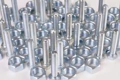 Parafusos chromeplated aço Fotografia de Stock