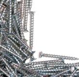 Parafusos de metal brilhantes de prata de aço fotos de stock