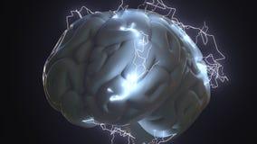 Parafusos de relâmpago sobre o cérebro humano A geração, o problema ou o clique da ideia relacionaram a rendição 3D conceptual Imagem de Stock Royalty Free