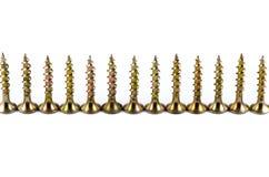 Parafusos dourados isolados no branco Fotos de Stock Royalty Free