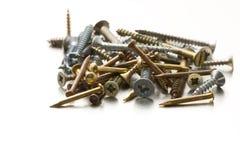 Parafusos e pregos de metal Foto de Stock Royalty Free