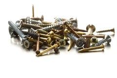 Parafusos e pregos de metal Imagens de Stock Royalty Free