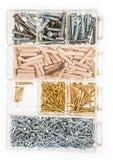 Parafusos e pregos em umas caixas Imagem de Stock
