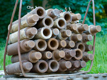 Parafusos empilhados para o trincheira-forro subterrâneo da construção Imagem de Stock Royalty Free